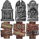 Piedra sepulcral de Halloween * 3 Señal de advertencia * 3, para artículos de fiesta Decoración del patio de la casa embrujada Bar