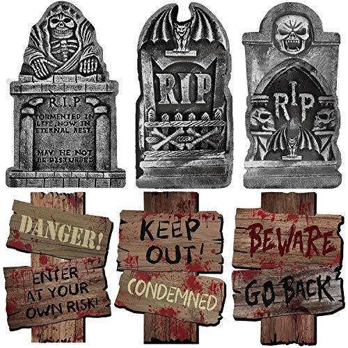ALINILA Piedra sepulcral de Halloween * 3 Señal de Advertencia * 3, para artículos de Fiesta Decoración del Patio de la casa embrujada Bar