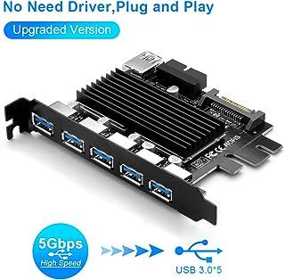Tarjeta de expansión con 5 Puertos para USB 3.0 (5 GB/s) Super Speed PCIE Express - Tarjeta de eXPansión Ningún Controlador Necesita Plug and Play