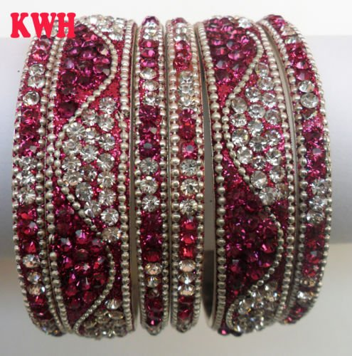 Indian Bridal Fancy Crystal Asian Bangle wedding Jewellery Party Wear Royal Blue Bangle Bracelet Kada ethnic Saree Kundan Bollywood Costume Colour Fuchasia Pink Size 2.12 Tyagi Craft