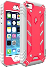 iPhone SE Case, iPhone 5S Case, iPhone 5 Case, POETIC Revolution [Premium Rugged][Shock Absorption & Dust Resistant] Protective Case w/Built-in Screen Protector for Apple iPhone SE Pink/Gray