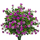 Artificial Flowers, Fake Outdoor UV Resistant Plants Faux Plastic Greenery Shrubs Indoor Outside Hanging Planter Home Kitchen Office Wedding Garden Decor (Magenta)