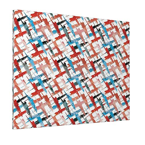 """Psychedelic Decor Grunge Graffiti Patterns Street Art Spray Paint Chaos of Colors Artwork Red Blue Painting Premium Panoramic Canvas Wall Art Painting 16""""X 20"""""""