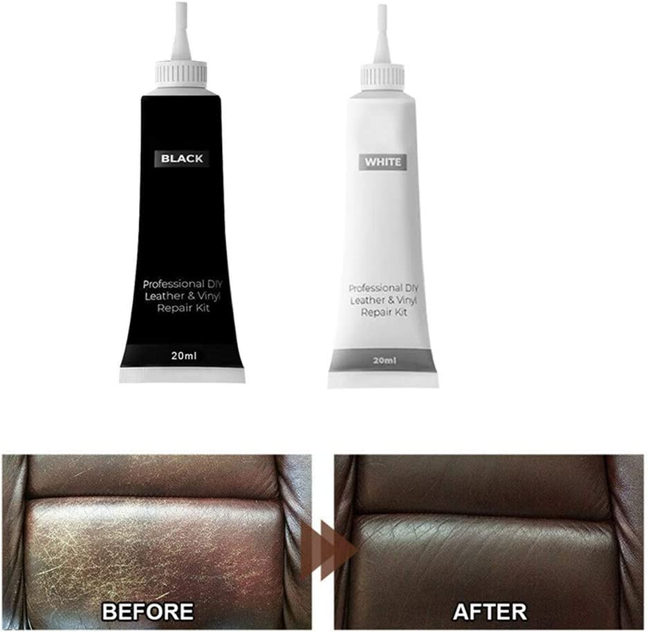 Drun 2 Pcs Leather Repair Gel Car Leather Renovated Coating Paste For Repairs Burns Cracks Holes And Grooves Black White Auto