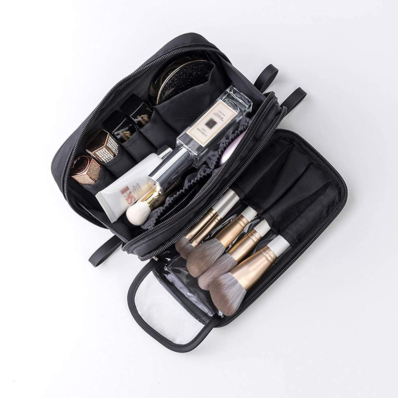 調整するアプローチ複雑でないSYFO 2層化粧バッグ大容量の収納袋を備えたポータブル持ち出し外付けの小さな袋ナイロン素材防水性と防塵性ソフトレザージッパーブラックレッド 化粧品のバッグ (Color : Black)