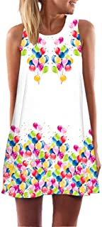 MURTIAL Women's T-Shirt Dress Fashion Summer Casual Deep O-Neck Sleeveless Flower Print Dress
