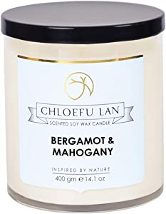 Chloefu LAN Candles Natural Soy Candle for Home Scented,Bergamot & Mahogany Scented Candle Gifts for Women 14.1Oz|100 Hour Long Burning Large Candle Home Decor, White Glass Jar Candle with Gift Box