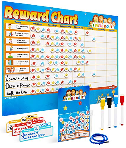 Chores Chart for Multiple Kids - Magnetic Responsibility Chart for Kids - Toddlers Behavior Chart - Reward Chart for Kids at Home - Star Chart - Sticker Chart - Chore Task Board (Blue)