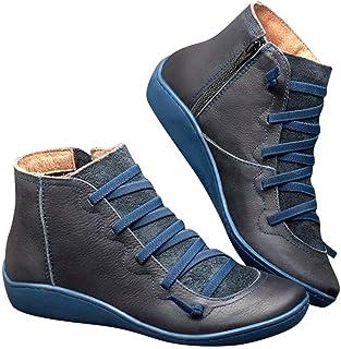 POLP Botas,Mujer Botines de Cuero Otoño Invierno Vintage Botines Mujer con Cordones Zapatos de Mujer Botas Cómodas de tacó...