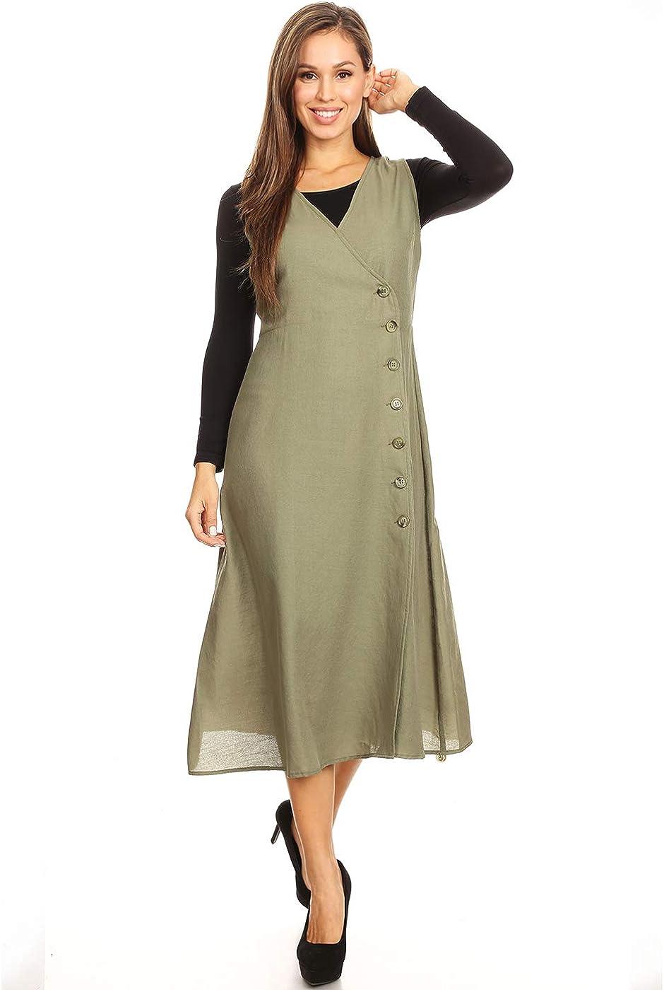 Anna-Kaci Casual Sleeveless V Neck Side Button Up Split Flowy Wrap Dress