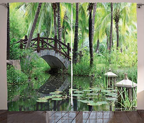 ABAKUHAUS Jardín de la Paz Cortinas, Park en el Sur de China, Sala de Estar Dormitorio Cortinas Ventana Set de Dos Paños, 280 x 175 cm, Verde Gris Marrón