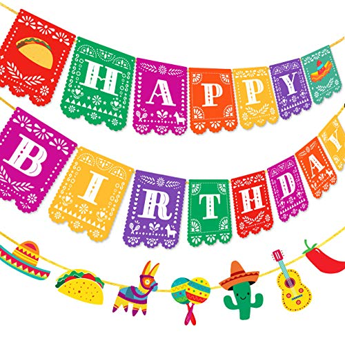 Kreatwow Fiesta Happy Birthday Banner Mexican Papel Picado Garland for Cinco de Mayo Taco Party Decorations Supplies 2 Pack