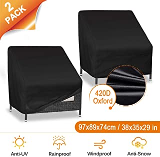 CAVEEN Patio Chair Covers, 420D Heavy Duty Patio Furniture Covers Waterproof Outdoor Chair Cover, Large Protective Lounge Deep Seat Cover 35