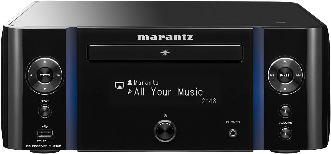 Marantz MCR611/T1B Melody Media - Receptor AV (CD player, CD, CD-R, CD-RW, DAB, DAB+, FM, AAC, AIFF, ALAC, FLAC, MP3, WAV, WMA, Spotify, vTuner, 6,3 mm)