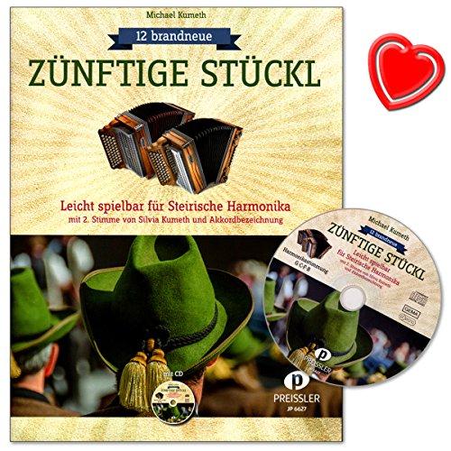12 brandneue zünftige Stückl - Leicht spielbar für Steirische Harmonika mit 2. Stimme von Silvia Kumeth und Akkordbezeichnung - Notenbuch mit CD, bunter herzförmiger Notenklammer