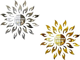 Atulya Arts Combo Pack of 2 Sun Decorative Mirror Wall Stickers (1 Silver, 1 Golden) 3D Acrylic Sticker for Wall Bedroom L...