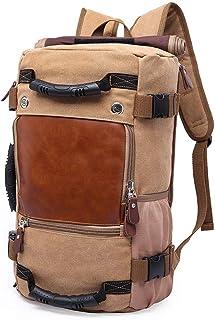 Zaino Zaino Canvas Grande capacità Multiuso Shoulder Bag Doppio Borsa da Viaggio letterario Retro Casual (Color : Khaki, S...