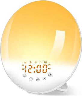 Radio Réveil Lumineux avec Lampe Réveil Lampe de Chevet 30 Niveaux de Luminosité Simulateur d'Aube et Crépuscule, Eveil Lu...