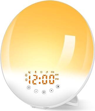 Radio Réveil Lumineux avec Lampe Réveil Lampe de Chevet 30 Niveaux de Luminosité Simulateur d'Aube et Crépuscule, Eveil L