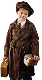 1940's-WW2-Wartime-Boys EVACUEE Long Brown Coat & Cap Costume with Gas Mask Box & Brown Suitcase - All Ages