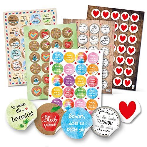 Logboek-uitgeverij spreuken stickers verschillende sets - 4 cm en 3,2 cm sticker goede wensen gezondheid hart liefde milieu set 1
