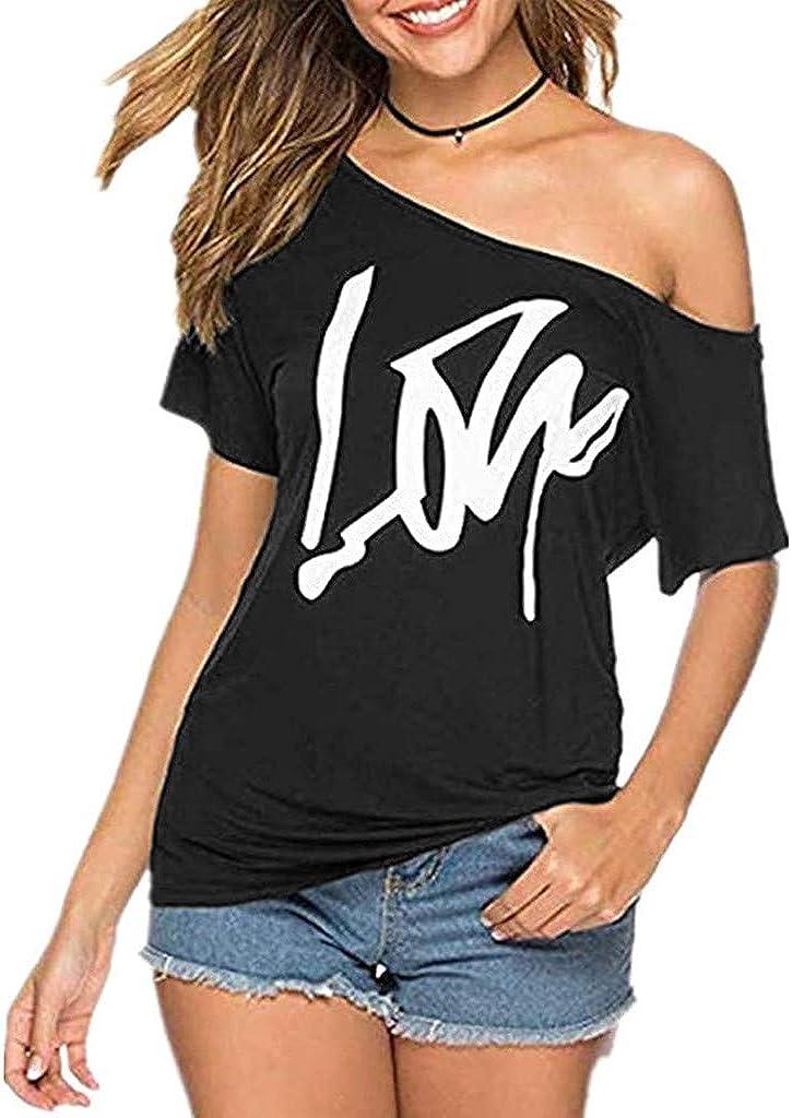 Clearance SALE! Limited time! Weginte Women T Dedication Shirts Casual Summer Off Sleeve Short L Shoulder