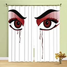 YOLIYANA Vampire Soft Curtain,Red Eyes of a Woman Dropping Blood Tears Female Foe Threatening Look Danger Decorative for Bedroom,236''W x 106''H