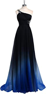 4e69b1041ee HEIMO Women s Gradient Color Beaded Prom Dresses Chiffon Evening Party Ball Gown  Long H154