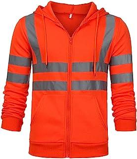 Muranba Mens Fluorescent Stripes Pullover Hooded Work Jacket Coat