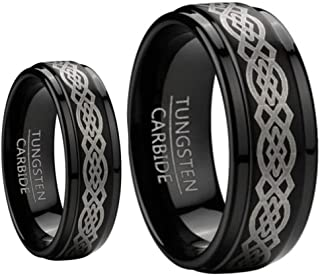 His & Her's 8MM & 6MM Black Tungsten Carbide Wedding and Engagement Bridal Band Ring Sets w/Laser Etched Celtic Design