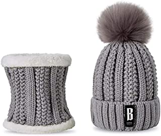 Winter Women's Hat Scarf Set of Hat and Scarf for Women Girl Warm Beanies Hat for Girl Ring Scarf Pompoms Winter Hats Warm and Cozy (Color : Gray)