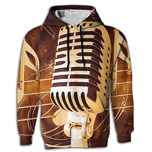 Qbeir Music Microphone Notes Men's Adult Print Hoodies Cozy Drawstring Pockets Pullover Hooded Sweatshirt Prime Exclusive