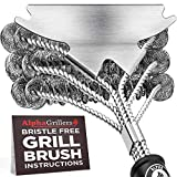 7. Alpha Grillers Grill Brush Bristle Free. Best Safe BBQ Cleaner with Extra Wide Scraper. Perfect 17 Inch Stainless Steel Tools for All Grill Types, Including Weber. Ideal Barbecue Accessories