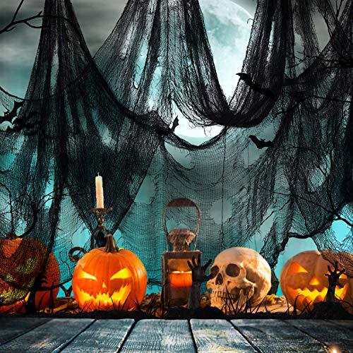 JWTOYZ Halloween Deko Stoff Schwarz, Gruseliges Tuch Dekostoff für Windows Tisch Türen (500 X 76 cm)