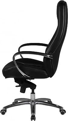 Home Collection24 Silla de Oficina Austin Real de Piel Negro Escritorio – Silla 120 kg de