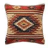 Comercio justo fundas de cojín de Kilim hecho a mano en telares con 80/20lana/algodón y tintes naturales Kashi (45cm x 45cm), marrón, 45cm x 45cm