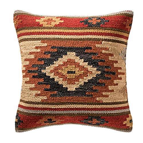 Indian Arts Fair Trade Kilim Cushion Covers Handmade on Handlooms using 80/20 wool/cotton and Natural Dyes Kashi (45cm x 45cm)