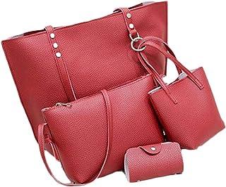 Women Bags Sets 4Pcs Women Pattern Leather Shoulder Bag+Crossbody Bag+Handbag+Clutch Luxury Handbags Women Bags,Red,S