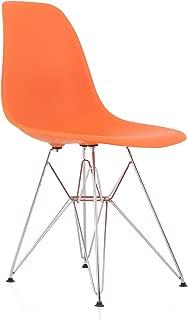 CozyBlock DSR Orange Molded Plastic Dining Side Chair with Steel Eiffel Legs