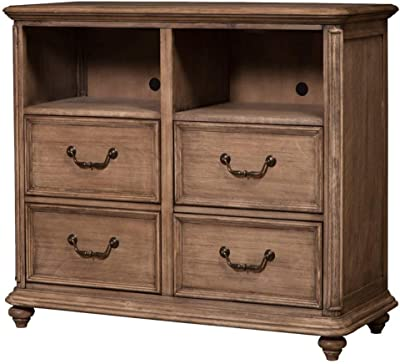 Alpine Furniture Melbourne 4 Drawer TV Media Chest, French Truffle