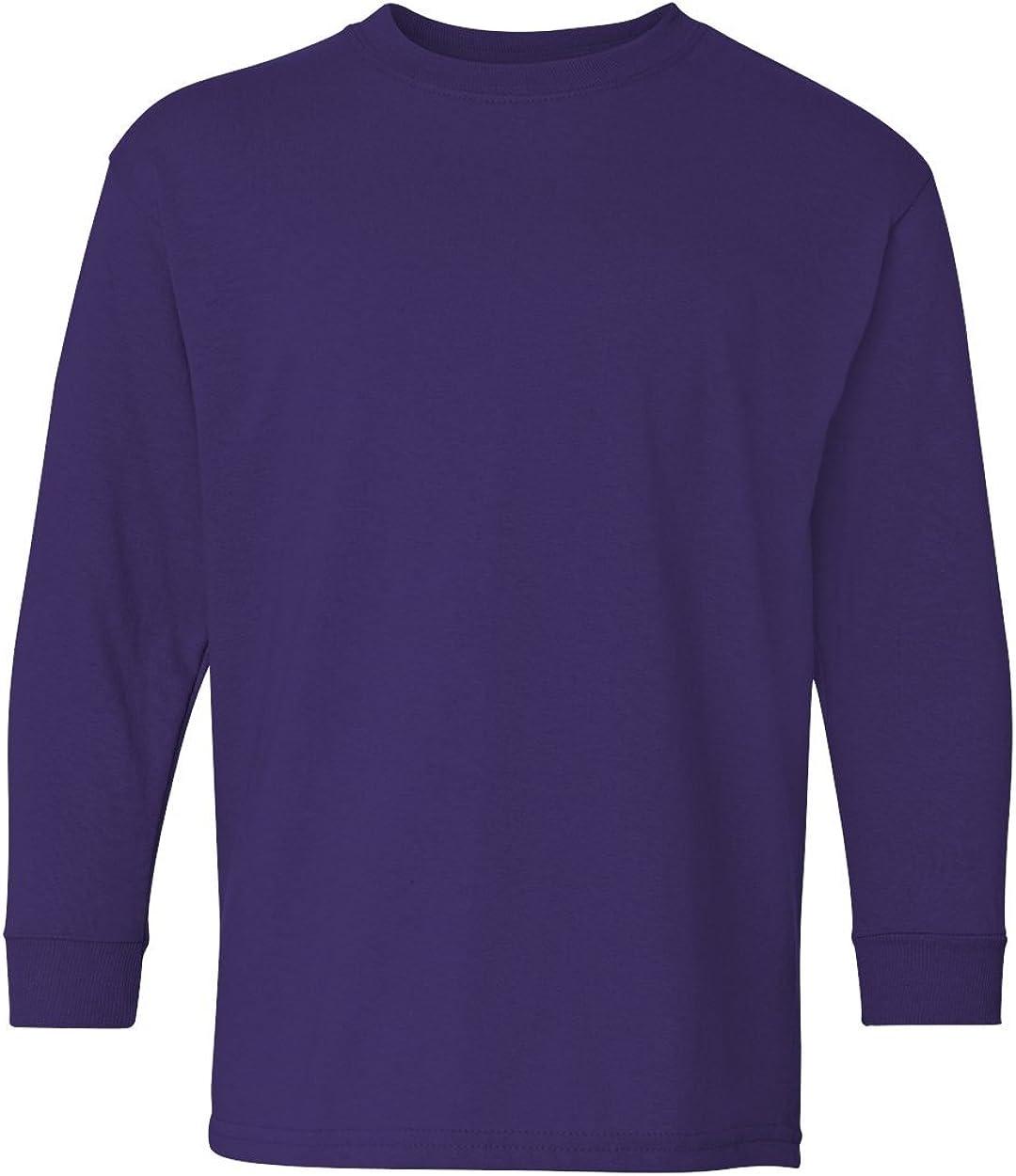 Heavy Cotton Long-Sleeve T-Shirt (G540B) Purple, S (Pack of 12)
