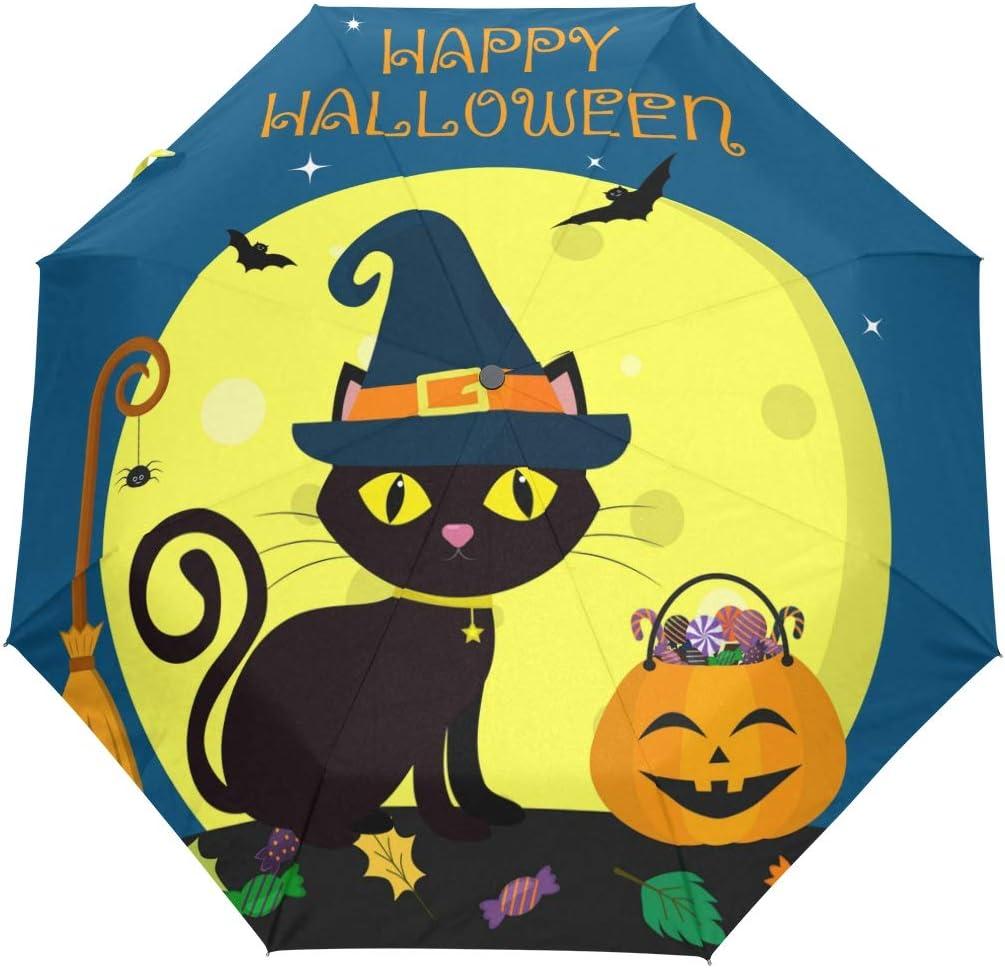 Wamika Automatic Umbrella Happy Halloween New product type Cat Full Moon Ranking TOP5 Wi Black