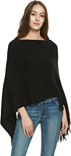 Ferand Women's Soft Knit Poncho Sweater, Elegant Fringe Cape Shawl in Multi-Way Neck Style