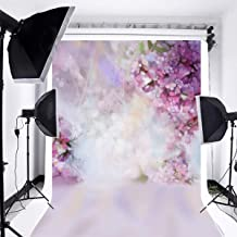 CdHBH Floral Background 5x7ft Oil Painting Watercolor Drawing Wall Flowers Photography Background Light Purple Blooming Spring Cherry Blossoms Abstract Photo Studio Backdrop Bokeh Children Photos