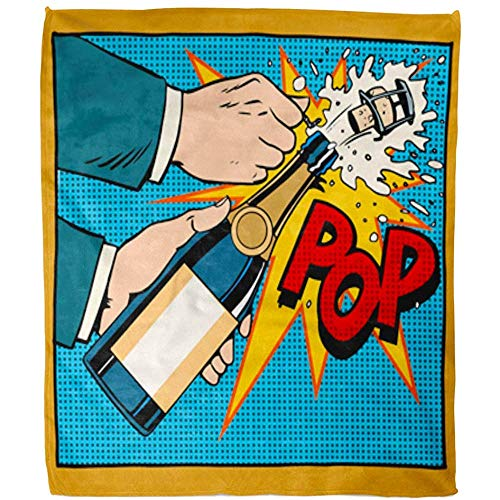 Duang Gooi Deken Opening Champagne Fles Pop Retro Bruiloft Verjaardag Nieuwjaar Woonkamer Fleece Deken Fuzzy Hotel Soft Bed Deken Deken Warm Sofa Office 102X127Cm