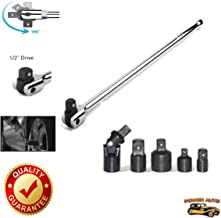 Exclusive 1/2 Inch Drive Premium Breaker Bar, 18 inch Long Plus Impact Adapter and Reducer Set - Power Auto Packaged Combo Set [Bundle: 1/2 Breaker Bar Torque Wrench & 5pc Impact Reducer Adpator]