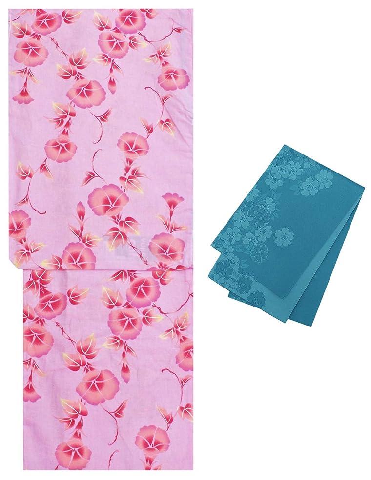 放射する悩むエンジニアリング浴衣 レディース ピンク色 朝顔柄 2点セット フリーサイズ N1696