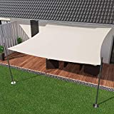 IBIZSAIL Sonnensegel wasserabweisend Sonnenschutz für Garten Balkon aus PES rechtwinklig-300 x 250 cm-Weiss(inkl. Spannseilen)