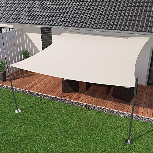 IBIZSAIL Sonnensegel wasserabweisend Sonnenschutz für Garten Balkon aus PES rechtwinklig-300 x 200 cm-Weiss(inkl. Spannseilen)