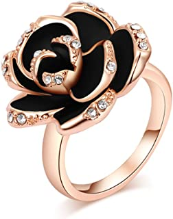 Alisa Fastion Jewelry Thanksgiving Gift Austrian Crystal Rose Gold with Diamonds Black Rose Ring